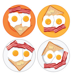 set of plates with fried eggs bacon bread and vector image