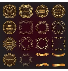 Set of vintage gold design elements-labels frames vector image