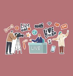 Set stickers live stream news theme vector