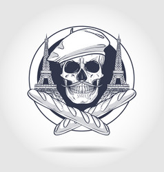 sketch french skull vector image