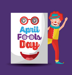 smiling clown waving hand with april fools day vector image