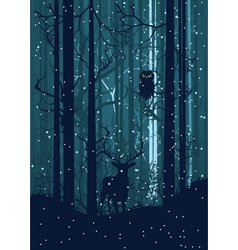Snowy Winter Forest with Deer2 vector
