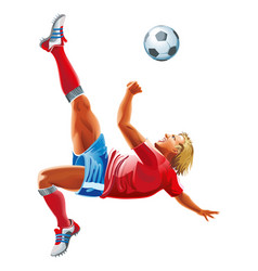soccer player kicking ball isolated on a vector image