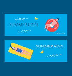 summer swimming pool posters vector image