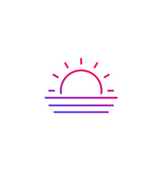 Sunset icon line vector