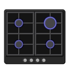 Surface of Black Gas Hob Stove with Fire On vector image