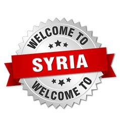 Syria 3d silver badge with red ribbon vector