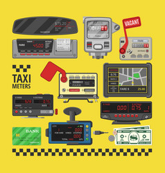 Taximeter cab car fare taxi meter device vector