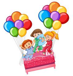 Three girls at slumber party vector