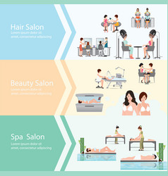 three horizontal banners with customers in spa vector image