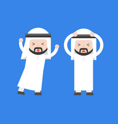 Two panic arab businessman conflict in workplace vector