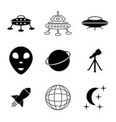 Ufo and space icons set vector