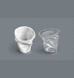 Used plastic cups disposable glasses vector