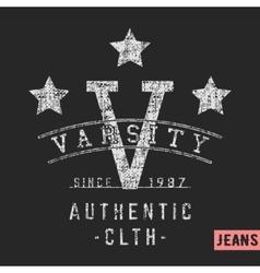 Varsity stars vintage stamp vector image