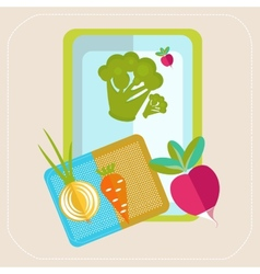 Vegetables on the table icon vector image