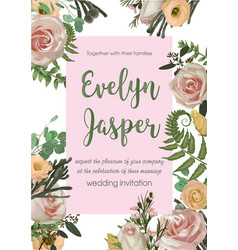 wedding invite invitation card floral with pink vector image