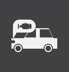 White icon on black background car and engine vector