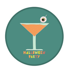 with cocktail for halloween party vector image