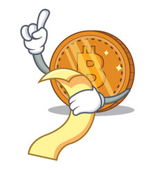 With menu bitcoin coin character cartoon vector