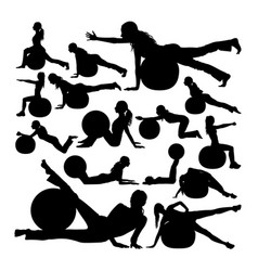 Woman exercise with pilates ball silhouettes vector