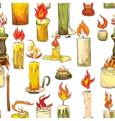 Candle sketch seamless pattern vector image