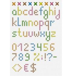 Colorful cross stitch lowercase english alphabet vector image