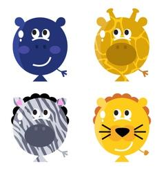 cute animal balloon faces vector image vector image