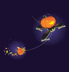 cute halloween pumpkin flying on a drone vector image