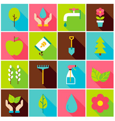 Gardening spring colorful icons vector