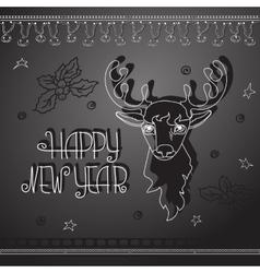 Hand drawn Christmas deer and handwritten words vector image