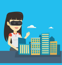 happy young woman wearing virtual reality headset vector image vector image