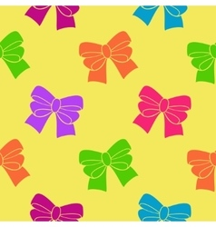 Multi-colored ribbons on a yellow background vector
