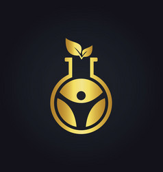science laboratory gold leaf logo vector image