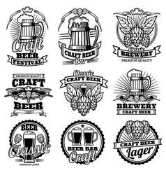 vintage beer drink bar labels retro vector image