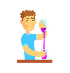 young bartender man character standing at the bar vector image vector image