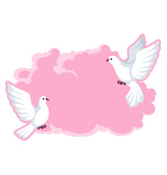 background with white doves beautiful pigeons vector image vector image