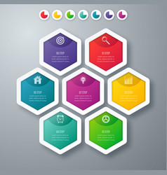 infographics seven hexagons vector image