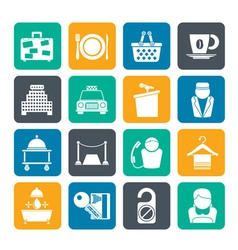 Silhouette Hotel and motel services icons vector image vector image