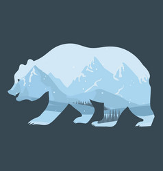 bear and nature double exposure winter landscape vector image vector image