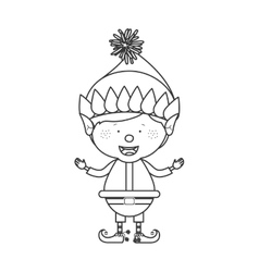 contour with christmas gnome boy vector image vector image