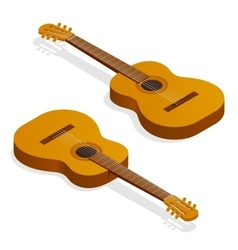 Isometric Classical acoustic guitar vector image vector image