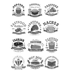 fast food icons set for fastfood restaurant vector image