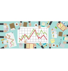 Flat View Business Meeting Table vector image