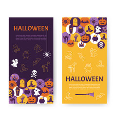 halloween banner halloween icons in circles on vector image vector image