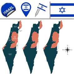 Israel map with named divisions vector image vector image