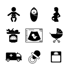 Pregnancy and birth icons vector image