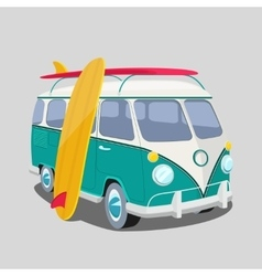 Surfer van poster or t-shirt graphics vector image vector image