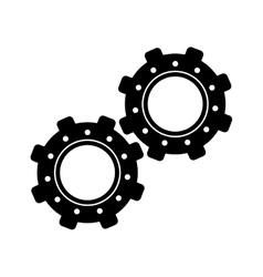 two gear wheel engine teamwork vector image vector image