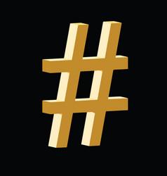 3d hashtag golden symbol vector