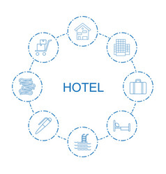8 hotel icons vector